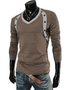 Casual Long Sleeve Button Point V-neck