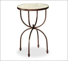 Willow Metal & Mirror Round Accent Table, Aged Bronze finish