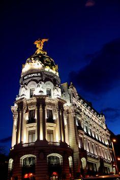 Metropolis Building at night madrid Spain