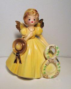 Vintage Josef Originals Birthday Angel Figurine Yellow 8 Made in Japan Ceramic | eBay