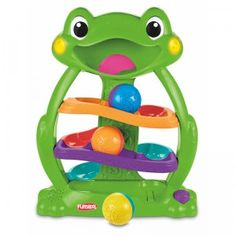 A friendly interactive frog that engages baby in take-and-put play with balls that roll down the ramp in its belly.