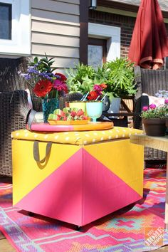 """This DIY rolling cooler ottoman adds color and convenience to Mandy Pellegrin's """"loud and laid-back"""" patio makeover. Click through to see how she created it."""