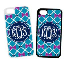 Monogrammed Turquoise Pearls And Bows Cell Phone Case