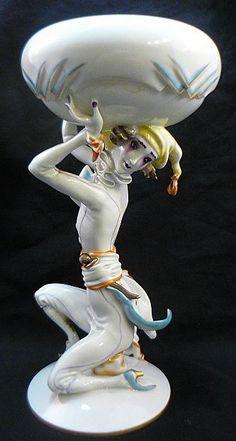 Art Deco Wien Augarten Porcelain Figurine Hertha Bucher Wiener Werkstatte Artist.