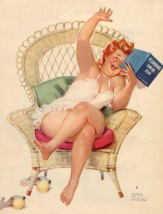 vintage books, duan bryer, art prints, reading books, pinup
