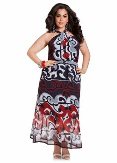 Ashley-Stewart-Womens-Plus-Size-Web-Exclusive-Knot-Front-Maxi-Dress-Multi-1820-0 maxi dresses, front maxi