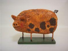 Primitive Paper Mache Folk Art  Pig by papiermoonprimitives, $35.00