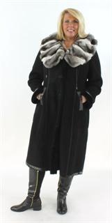 Elegant and Unusual Black Shearling Coat with an Orelag Portrait Collar