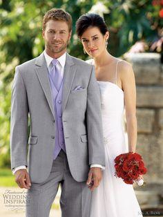 jos a bank mens wedding suits tuxedo rental grey savoy 332 2 button    -gun metal gray suit  -royal blue #Suits #Menswear #wedding
