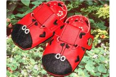 """Ladybug Booties"""" These whimsical, little, soft soled ... 