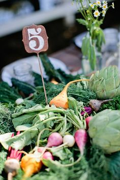 Farm fresh veg wedding centerpiece - budget beautiful idea for an eco conscious, farmer's market loving couple!