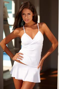 """Twist White Tankini - 20% off with code """"violet20""""."""