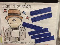 Sam Houston, first grade, historical figures grade ss, grade social, anchor chart, author figur, first grade, sam houston, social studi