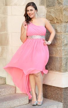 Deb Shops #neon #pink plus size beaded one shoulder chiffon high low hemline #prom #dress