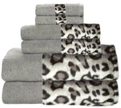 Snow Leopard & Grey Bordering Africa Bath Towels  $11.00-$27.00 SALE $10.00-$24.00 towel 11002700, leopard print, 11002700 sale, bath towel, border africa, africa bath, sale 10002400, snow leopard, leopard bathroom