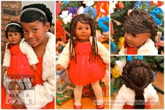 Natural Hair Styling for your Child's American Girl Doll: Yarn Extensions | Chocolate Hair / Vanilla Care