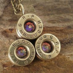 Bullet Jewelry   Bullet Necklace  9mm   Multi by ShellsNStuff, $22.99