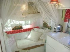 Cute ideas for camper interiors.  I am going to get a little 'glamper' to park in my driveway and use as a playhouse!