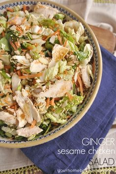 Ginger Sesame Chicken Salad - This salad is full of yummy flavor and texture and it's pretty! Serve it as a main dish or as a side dish without the chicken.