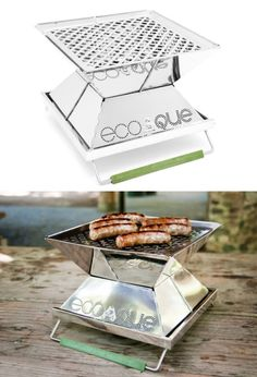 "EcoQue Portable Grill - Made from high-quality stainless steel, lightweight, and collapse to just over 1"" in thickness. Enclosed design makes the grill safe to use in environments that have high fire risk."