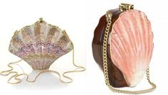 Judith Leiber crystal shell clutch and Rocio shell and wood clutch _ clutchmadaboutbags.org, thesalerack
