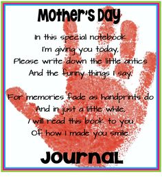 Beautiful Mother's Day Gift - Journal for Mom to write special moments and thoughts about their child. Love it! ($)