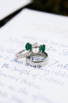 diamond and emerald engagement ring, photo by Sarah Der Photography http://ruffledblog.com/rustic-virginia-wedding #engagementring #jewelry