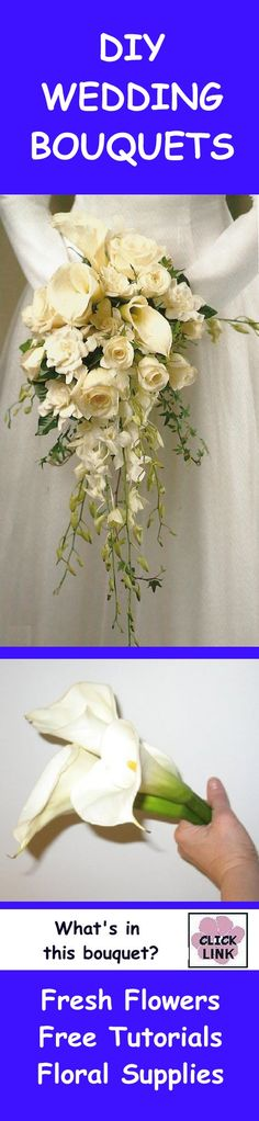 http://www.wedding-flowers-and-reception-ideas.com/calla-lily-and-rose-cascade-wedding-bouquet.html  - Learn what's in this wedding bouquet.  See free tutorials and buy professional florist supplies.
