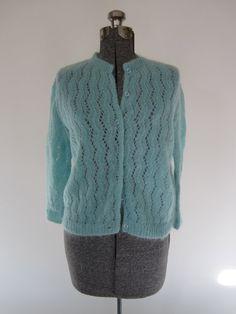 vintage robin's egg blue cardigan sweater