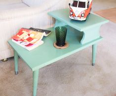 Gossip Bench Telephone Table Vintage End Table Hand Painted Green Retro 1950s Mid Century Cottage Chic Furniture