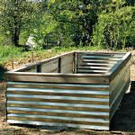 raised bed with corrugated tin
