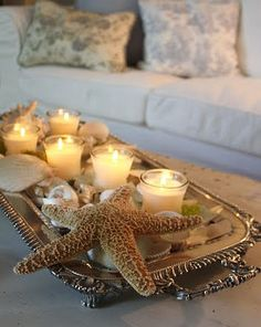 candles in tray