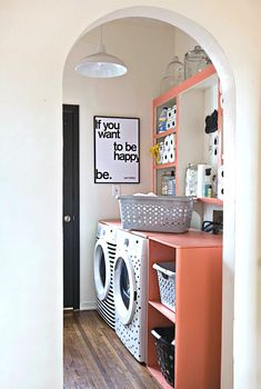 Colorful organized laundry room
