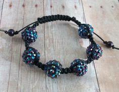 Adjustable Blue and PurpleShamballa Bracelet