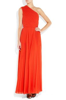 Cleopatra - Pleated Chiffon One-Shoulder Gown - Halston Heritage - $795