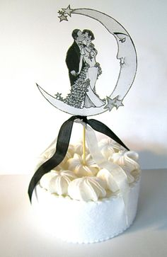 Vintage moon wedding cake topper with set of 6 star toppers