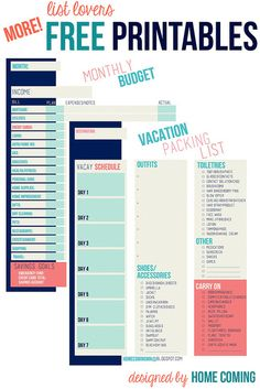 Free Printables Monthly Budget, Vacation Packing List #homemanagementbinder #householdbinder