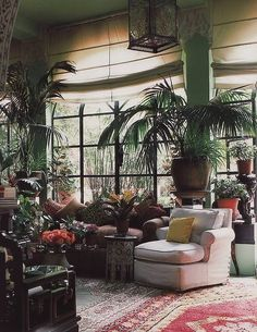 in the '70s, photos of interiors always highlighted the lush foliage. Like this...
