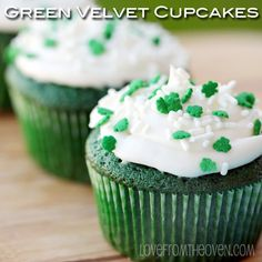"""""""Green Velvet Cupcakes..."""" This green velvet cupcakes are beautiful.! Perfect for St. Patrick's Day and they look so yummy.!!!"""