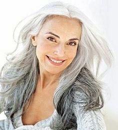 Beautiful long gray hair gray-hair