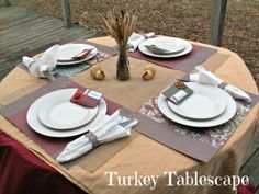 Love the colors and fabric in this #turkeytablescapes from @Katydid Country!