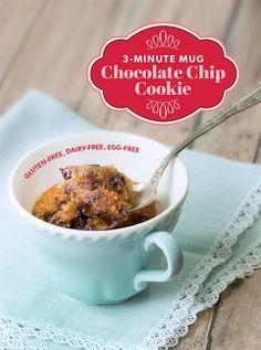 Chocolate Chip Mug Cookie — GF,Vegan - Lexie's Kitchen | Gluten-Free Dairy-Free Egg-Free - #vegan #dessert #cookie #recipe
