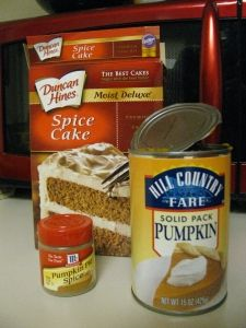 Pinner says: I make these pumpkin muffins every fall - they are SO amazing, and SO easy! Spice cake, pumpkin, and pumpkin pie spiceUm yum....... I may never eat anything else for breakfast again. Pumpkin Muffins - only 2 ingredients.  That's right, just the cake mix and the pumpkin.  No oil, no eggs, no water, nothing else. Bake at 350, this is a Weight Watchers treat, very low cal.