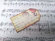 Label franse postkaart tekst | Labels stof nostalgie | Nostalgie & Brocante