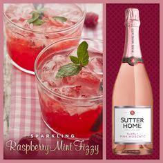 wines, wine cocktail, raspberri mint, drink, sutter, homes, mint fizzi, sparkl raspberri, mint cocktail