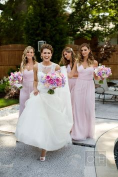 Beautiful bride and bridesmaids! Love their color combination.