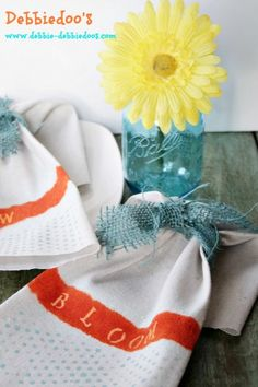 #diy #dropcloth napkins for #Spring.: #ModPodge Rocks new stencils. #ritdye, and chalk pen.