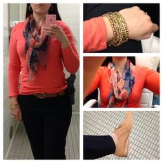 Coral top from Old Navy, printed scarf from Marshall's, Gap navy trousers, Franco Sarto tan oxfords, gold bracelet from NY & Co.