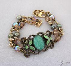 Vintage Assemblage Green Czech Bracelet Enamel by jryendesigns, $69.00