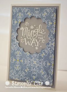 Mingle All the Way stamp set with the All is Calm DSP. #stampinup #stampincita